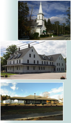 Collage of Union Church, Resource Center, and Railroad Depot